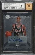 Basketball Cards:Singles (1980-Now), 2013-14 Totally Certified Giannis Antetokounmpo Rookie Roll Call Autograph #10 BGS Mint 9, Auto 10....