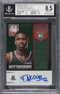 Basketball Cards:Singles (1980-Now), 2013-14 Panini Elite Giannis Antetokounmpo Rookie Essentials Autograph Jersey #RE-GA BGS NM-MT+ 8.5, Auto 9 - Serial Numbered ...