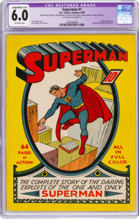 Superman #1 (DC, 1939) CGC Apparent FN 6.0 Slight to Moderate (A-2) Off-white pages