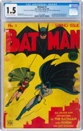 Golden Age (1938-1955):Superhero, Batman #1 (DC, 1940) CGC FR/GD 1.5 Off-white to white pages....