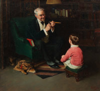 Norman Rockwell (American, 1894-1978) Grandfather and Grandson, 1929 Oil on canvas 28 x 30-3/4 in