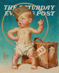 Paintings, Joseph Christian Leyendecker (American, 1874-1951). New Year's Baby Hitching to War, The Saturday Evening Post unpublish...