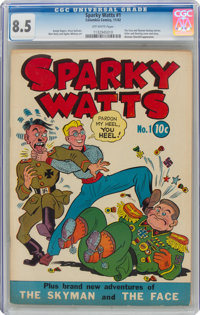 Sparky Watts #1 (Eastern Color, 1942) CGC VF+ 8.5 Off-white pages