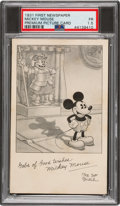 Non-Sport Cards:Singles (Pre-1950), 1931 First Newspaper Walt Disney Mickey Mouse Premium Card PSA Fair 1.5 - Only Four Graded Examples. ...