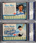 Autographs:Sports Cards, Signed 1962 Post Cereal Mickey Mantle & Roger Maris PSA/DN...