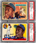 Autographs:Sports Cards, Signed 1955 & 1956 Topps Hank Aaron PSA/DNA Pair (2). ...