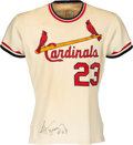 Baseball Collectibles:Uniforms, 1971 Ted Simmons Game Worn & Signed St. Louis Cardinals Jersey with Repair. ...