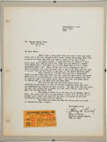 Baseball Collectibles:Others, 1947 Umpire Harry Geisel Letter to Babe Ruth Regarding Bab...