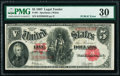 "Large Size:Legal Tender Notes, Fr. 91 $5 1907 ""PCBLIC"" Error Legal Tender PMG Very Fine 30.. ..."