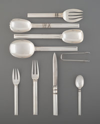 A One Hundred-One-Piece Jean E. Puiforcat Cannes Pattern Silver Flatware Service ... (Total: 101)