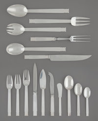 A One Hundred Fifty-Two-Piece Puiforcat Nantes Pattern Silver-Plated Flatware Service for Tw... (Total: 148)