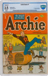 Archie Comics #1 (Archie, 1942) CBCS Restored VG- 3.5 (Slight/Medium Amateur) Off-white to white pages