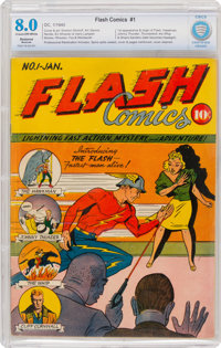 Flash Comics #1 (DC, 1940) CBCS Restored VF 8.0 (Moderate) Cream to off-white pages