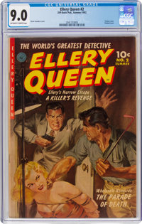 Ellery Queen #2 (Ziff-Davis, 1952) CGC VF/NM 9.0 Off-white to white pages