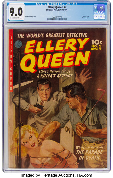 Ellery Queen #2 (Ziff-Davis, 1952) CGC VF/NM 9.0 Off-white to white pages....