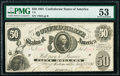 Confederate Notes:1861 Issues, T8 $50 1861 PF-2 Cr. 15/17 PMG About Uncirculated 53.. ...