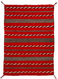 American Indian Art:Weavings, A Navajo Weaving with Bands of Diagonal Twill...