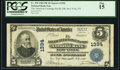 National Bank Notes:New York, New York, NY - $5 1902 Plain Back Fr. 599 The American Exchange Pacific National Bank Ch. # 1394 PCGS Fine 15.. ...