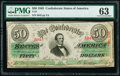 Confederate Notes:1863 Issues, T57 $50 1863 PF-3 Cr. 408 PMG Choice Uncirculated 63.. ...