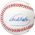 Baseball Collectibles:Balls, Early 2000's Fidel Castro Double-Signed Baseball with Photographic Evidence....