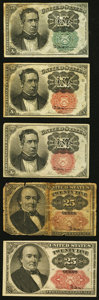 A Quintet of Circulated 10¢ and 25¢ Fractional Notes. Very Good or Better. ... (Total: 5 notes)