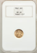 1862 G$1 MS60 NGC. NGC Census: (84/2669). PCGS Population: (65/2082). CDN: $350 Whsle. Bid for NGC/PCGS MS60. Mintage 1...