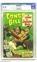 "Golden Age (1938-1955):Adventure, Congo Bill #1 (DC, 1954) CGC VG/FN 5.0 Off-white to white pages. Gerber calls this book ""scarce,"" and Overstreet uses the sa..."