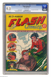 """Flash Comics #3 (DC, 1940) CGC NM- 9.2 Off-white pages. """"King"""" Standish made his first appearance in this issu..."""