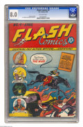 Golden Age (1938-1955):Superhero, Flash Comics #4 (DC, 1940) CGC VF 8.0 Off-white pages. Sheldon Moldoff had worked on the preceding issues of Flash Comics...