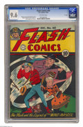 """Golden Age (1938-1955):Superhero, Flash Comics #60 """"D"""" Copy pedigree (DC, 1944) CGC NM+ 9.6 Off-white pages. Hey comic fans, do what Flash is doing and hold o..."""
