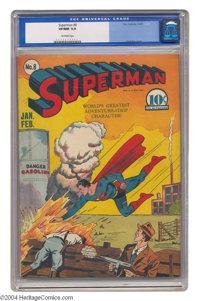 Superman #8 (DC, 1941) CGC VF/NM 9.0 Off-white pages. Fred Ray's cover gives us Superman streaking to the rescue, nothin...