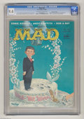 Silver Age (1956-1969):Humor, Mad #34 Gaines File pedigree (EC, 1957) CGC NM 9.4 White pages. A key Mad contributor came on board this issue as Dave B...