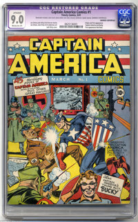 Captain America Comics #1 (Timely, 1941) CGC Apparent VF/NM 9.0 Moderate (P) Cream to off-white pages. Captain America i...