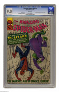 Silver Age (1956-1969):Superhero, The Amazing Spider-Man #6 (Marvel, 1963) CGC VF/NM 9.0 White pages.The Lizard made his first appearance in this issue. You'...