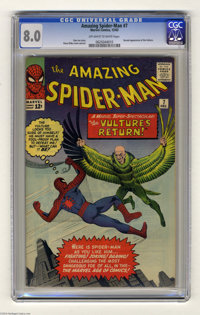 The Amazing Spider-Man #7 (Marvel, 1963) CGC VF 8.0 Off-white to white pages. Chrome-domed creep the Vulture returns to...