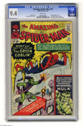"""Silver Age (1956-1969):Superhero, The Amazing Spider-Man #14 (Marvel, 1964) CGC NM 9.4 White pages.Did you think the Green Goblin's """"hot"""" period was over? We..."""