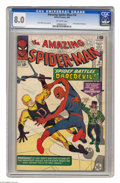 """Silver Age (1956-1969):Superhero, The Amazing Spider-Man #16 (Marvel, 1964) CGC VF 8.0 Off-white pages. Daredevil, being """"The Man Without Fear,"""" wasn't afraid..."""