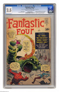 Silver Age (1956-1969):Superhero, Fantastic Four #1 (Marvel, 1961) CGC GD+ 2.5 Cream to off-white pages. The cameras are about to roll on the Fantastic Four m...