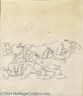 "Animation Art:Miscellaneous, Walt Disney Studios -- ""Snow White and the Seven Dwarfs"" OriginalPencil Animation Drawing. (1937). Five of the dwarfs are d..."