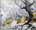 "Animation Art:Miscellaneous, Walt Disney Studios -- ""Snow White and the Seven Dwarfs"" Original Hand Painted Production Cel and Print Background. (1937). ..."