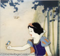 "Animation Art:Miscellaneous, Walt Disney Studios -- ""Snow White and the Seven Dwarfs"" Original Hand Painted Production Cel and Courvoisier Background. (1937)..."