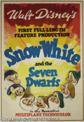 "Animation Art:Miscellaneous, Walt Disney Studios -- ""Snow White and the Seven Dwarfs"" OriginalOne Sheet Studio Movie Poster. (1937). This rare original ..."