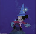 "Animation Art:Miscellaneous, Walt Disney Studios -- ""Fantasia"" Original Hand Painted ProductionCel and Courvoisier Background. (1940). Mickey Mouse as t..."