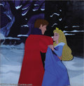 "Animation Art:Miscellaneous, Walt Disney Studios -- ""Sleeping Beauty"" Original Hand Painted Production Cel and Print Background. (1959). This unusual set..."
