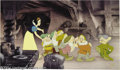 "Animation Art:Miscellaneous, Walt Disney Studios -- ""Snow White and the Seven Dwarfs"" HandPainted limited Edition Cel. (1994). ""Off to Bed."" Snow White ..."