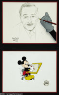 "Animation Art:Miscellaneous, Walt Disney Studios -- ""Handwriting on the Wall"" and the ""Disney M.G.M. Animation Gallery Commemorative Cel."" (1987). Artist..."