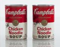 Sculpture, Steve Kaufman X Campbell's. Untitled (two works), early 21st century. Two cans of Campbell's Chicken Noodle. 4 x 2-1/2 x... (Total: 2 Items)