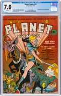 Golden Age (1938-1955):Science Fiction, Planet Comics #21 (Fiction House, 1942) CGC FN/VF 7.0 White pages....