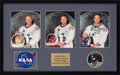 Explorers:Space Exploration, Apollo 11: Matching Individually-Signed White Spacesuit Color Photos (Uninscribed) Matted and Framed with Embroidered NASA an...