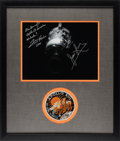Explorers:Space Exploration, Apollo 13: Damaged Service Module Photo Signed by James Lovell and Fred Haise Matted and Framed with an Embroidered Mission In...